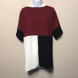 New. Color-block blouse with Black, Maroon, Cream